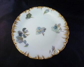 Haviland Limoges Blue Floral Dessert Plates, 1891