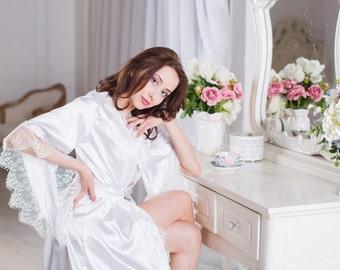 Wedding robe, White robe, Bridal robe, Long Wedding robe, Bridal lingeria
