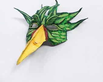 Green Bird Mask, tropical, costume, half mask, Avian, wearable, paper mache, bird mask, masquerade
