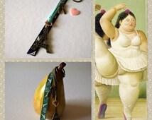 Jewel bag Eiffel Tower, aromatherapy, bronze ballerinas Keychain, leather Suede, pink heart, Ribbon