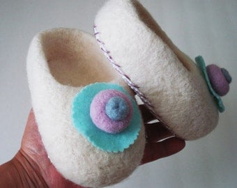 Hand Needle felted Toddler slippers with grip bottom- keep little feet warm and off the bare ground- home comfort slippers-