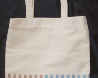 Tote Bag, Cotton Canvas, Striped Botton, 31cm x 33cm with 5cm wide soft base
