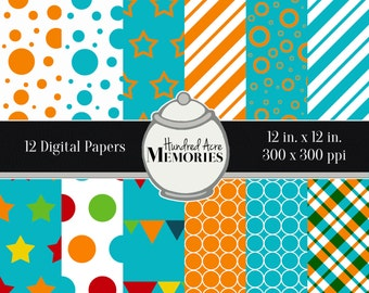 Digital Papers, Primary Blues and Oranges, 12 inches x 12 inches, 300 ppi (dpi), Scrapbooking and Craft Papers, Downloadable and Printable