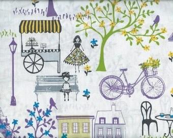 Paris Street Landmark Tower color Lilac Fabric, Home Decor Quilt or Craft Fabric