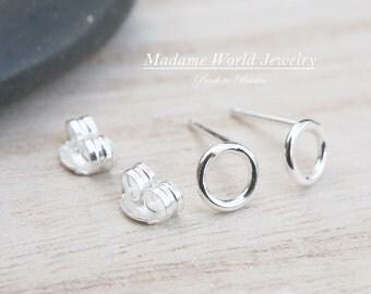 Plain Open Circle Stud Earrings
