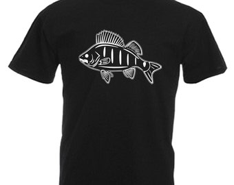 Perch Fishing Gift Adults Black T Shirt Sizes From Small - 3XL