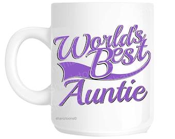 Auntie World's Best Purple Novelty Gift Mug shan833