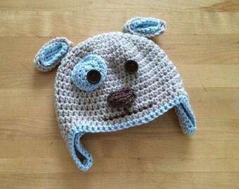 Crochet puppy earflap hat, crochet dog earflap hat, crochet puppy beanie, baby winter hat