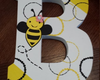 wood letters bumble bee nursery personalized