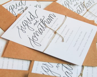 Wedding Calligraphy Invitations• simple •classic• rustic•budget