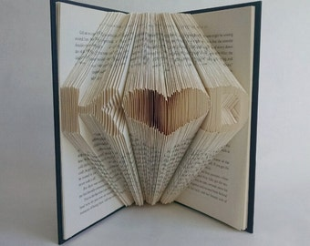 Personalized Wedding Gifts For Couple - Folded Book Art Featuring Custom Initials with a Heart