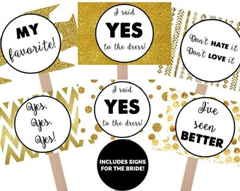 Say Yes To The Dress Black and Gold Favorite Sign and Bride Sign, yes to dress paddle, wedding dress shopping signs