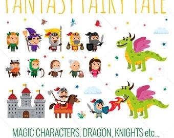 Fantasy Fairy Tale Clipart/princess/knight/dragon/wizard/king/castle/warriors/archer/medieval