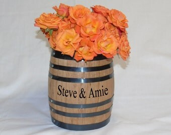 Whiskey / Wine Oak Barrel Centerpiece Flower Vase For Wedding Or Reception