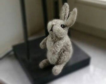 Unique  Felted Bunny Gray Eastern Bunny Gray Wool Rabbit