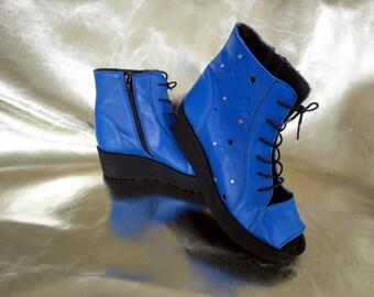 Leather Handmade Sandals Bestini, Genuine leather sandals, Fashion leather, Blue, Rhinestone, Exclusive, Unique, Limited eddition