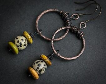 Hoop earrings Small hoops Jasper jewelry Tribal jewelry Stone earrings Tribal Ethnic Ethnic jewelry Copper Copper jewelry Sterling silver