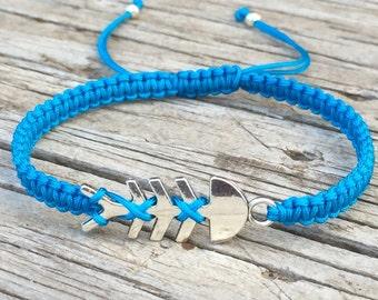 Fish Skeleton Bracelet, Fish Skeleton Anklet, Adjustable Cord Macrame Friendship Bracelet, Surf Bracelet, Fish Bones, Gift for Her
