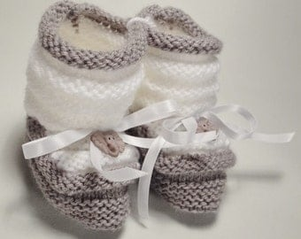 """Slippers elephant """"hand made"""" babies or reborn with box offered gift (handmade)"""