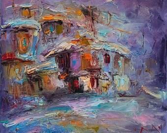 Abstract Landscape Painting, Minimalist Painting, Modern Painting, Winter Landscape Painting, Abstract Art/ indigo red/ 12X12 Christmas Gift