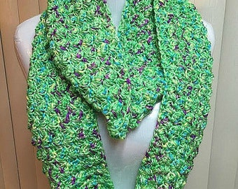 Green Crochet Scarf, Green Infinity Scarf, Bright Green Scarf, Green Knit Scarf, Green Winter Scarf, Lime Green Scarf
