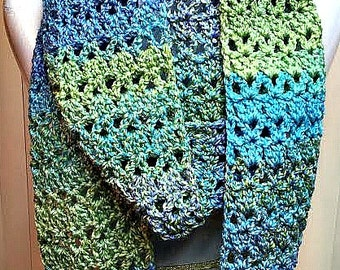 Blue Crochet Scarf, Blue Infinity Scarf, Blue Green Scarf, Blue Knit Scarf, Blue Striped Scarf, Multi Color Infinity Scarf