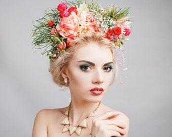 Rose Flower Headdress, Flower Crown, Flower Headpiece, Head wreath, Hair Accessories,Wedding Headband,Floral Circlet Headpiece,Ethnic Wreath