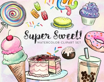 Super Sweet Watercolor Clipart - INSTANT DOWNLOAD - High Res, PNG, Printable and Cute! For stationery, birthdays and kids rooms
