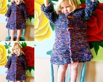 Kids winter coat hand knitted in Australian wool