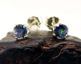 Mystic blue rainbow topaz earrings, round earrings mystic blue topaz, sterling silver stud earrings 4 mm