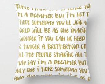 Gold Pillow - Imagine Pillow - Velveteen Pillow Cover - Imagine John Lennon - Modern Decorative Pillow - Gift Ideas - Modern Home Decor