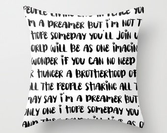 Imagine Pillow - Black and White Velveteen Pillow Cover - Imagine John Lennon - Modern Decorative Pillow - Gift Ideas - Modern Home Decor