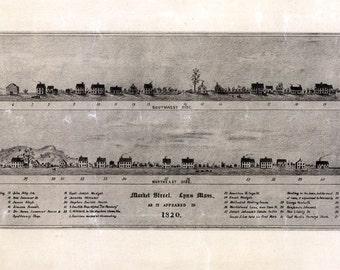 1820 Panoramic Map of Lynn Massachusetts