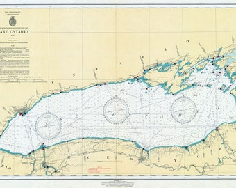 1941 Nautical Map of Lake Ontario