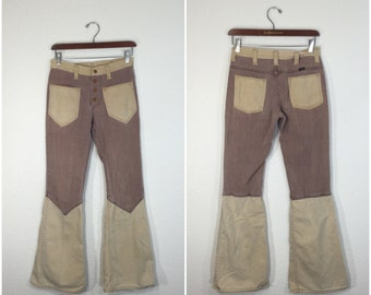 70's vintage wrangler two tone flare pants patch pocket boot cut size w29