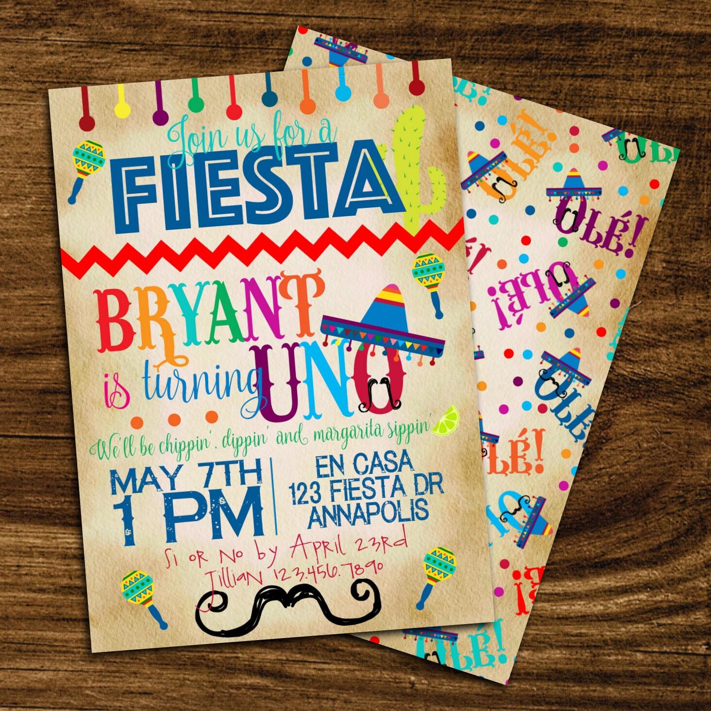 Fiesta Birthday Party Invitation First Birthday Fiesta 1st