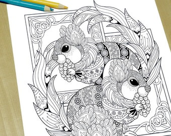 Fluffy Squirrel - Adult Coloring Page Print