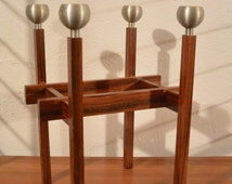 Mid century rosewood candle holders