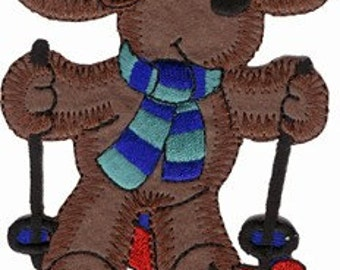 3 1/4'' by 4 1/2'' Iron On Skiing Moose Winter / Ugly Christmas Sweater Applique w/ Free Shipping