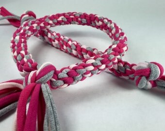 Pink & Grey Mix Rope Dog Toy made from Upcycled T-shirts