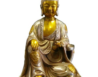Silver Coating Golden Gilt Chinese Kwan Yin Statue vs931E