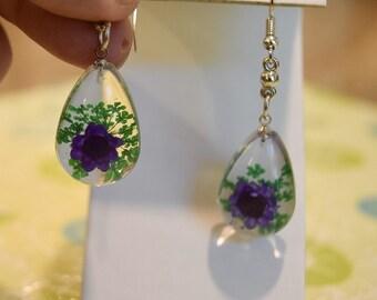 Real Flower Earrings;Resin Earrings;Pressed Flowers;Flower Earrings;Resin;Earrings;Botanical Earrings;Purple Earrings;Natural Earrings;Gifts