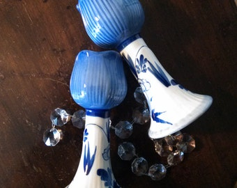 Pair Delft Blue candle