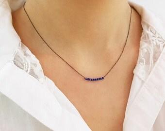Dainty gemstone necklace/Beadednecklace/Minimalist Gold Delicate Gemstone Necklace with Tiny Beads/Gemstone bar necklace/Beadnecklace