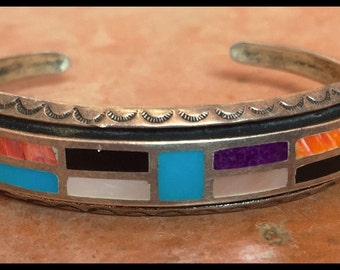 25g Sterling Native American Bracelet with Channel Inlay, Gorgeous.