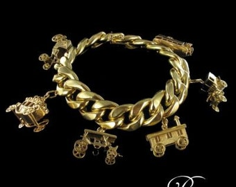 Bracelet Bangle former charms yellow gold 18K Vintage