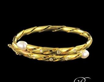 19th diamonds pearls 18K Yellow Gold carved Bangle Bracelet