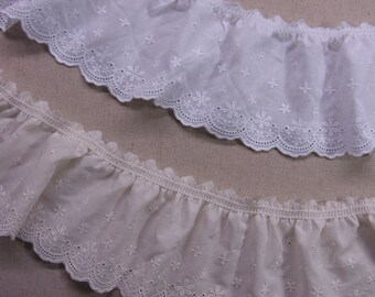 """Lovely  Gathered Ruffled Cotton Eyelet Lace Trim 6cm(2.4"""") White Beige Sewing Craft  Wide 1Yd"""