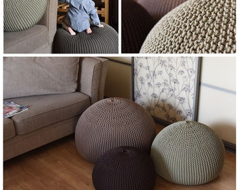 UNFILLED knitting bean bag, cover, pouf, home decor, rope, footstool, bean bag, floor cushion