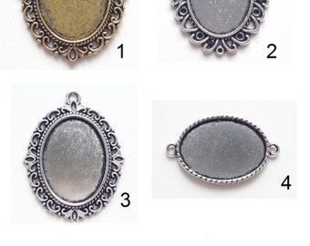 Silver or golden cabochon holders - Prettypretty Beads UK